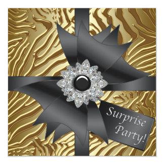Fiesta de cumpleaños de la sorpresa de la cebra invitación 13,3 cm x 13,3cm