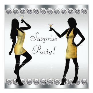 Fiesta de cumpleaños de la sorpresa de la mujer de invitación 13,3 cm x 13,3cm