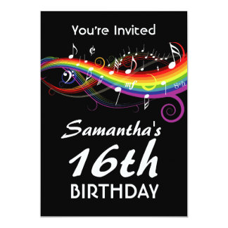 Fiesta de cumpleaños de las notas blancas de la invitación 12,7 x 17,8 cm
