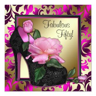 Fiesta de cumpleaños de las rosas fuertes de la invitación 13,3 cm x 13,3cm