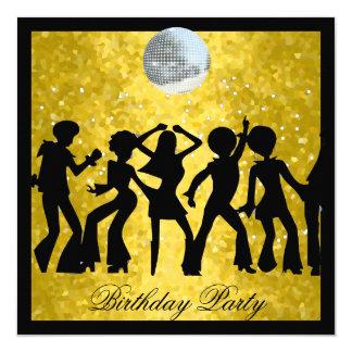 Fiesta de cumpleaños de los años 70 del disco invitación 13,3 cm x 13,3cm