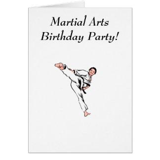 Fiesta de cumpleaños de los artes marciales tarjeta de felicitación
