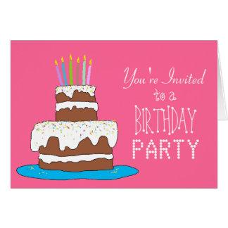 Fiesta de cumpleaños de los chicas de la torta de tarjeta de felicitación