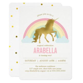 Fiesta de cumpleaños de los chicas del unicornio invitación 12,7 x 17,8 cm