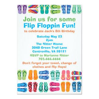 Fiesta de cumpleaños de los flips-flopes de la invitación 11,4 x 15,8 cm