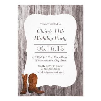 Fiesta de cumpleaños de madera del vaquero/de la v anuncios