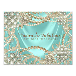 Fiesta de cumpleaños de marfil azul de la perla invitación 10,8 x 13,9 cm