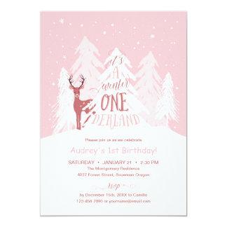 Fiesta de cumpleaños de Onederland del invierno la Invitación 12,7 X 17,8 Cm