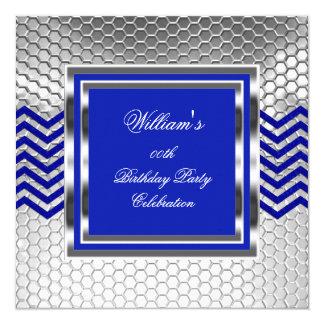 Fiesta de cumpleaños de plata azul elegante de invitación 13,3 cm x 13,3cm