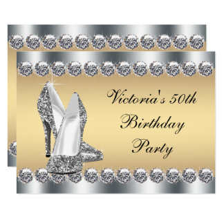 Fiesta de cumpleaños de plata de Bling del Invitación 12,7 X 17,8 Cm