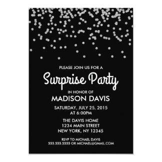 Fiesta de cumpleaños de plata de la sorpresa del invitación 12,7 x 17,8 cm