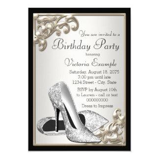 Fiesta de cumpleaños de plata del negro de marfil invitación 12,7 x 17,8 cm