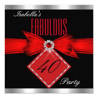 Fiesta de cumpleaños de plata negra roja 40 invitación 13,3 cm x 13,3cm