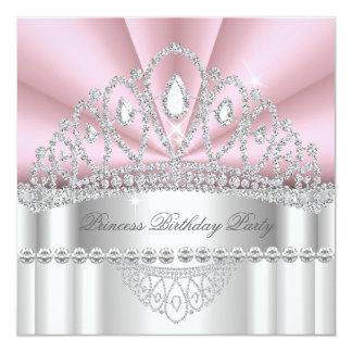 Fiesta de cumpleaños de princesa Pink White Invitación 13,3 Cm X 13,3cm