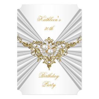 Fiesta de cumpleaños de seda de plata blanca de la invitación 12,7 x 17,8 cm