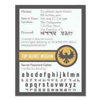 Fiesta de cumpleaños del agente secreto de la invitación 10,8 x 13,9 cm