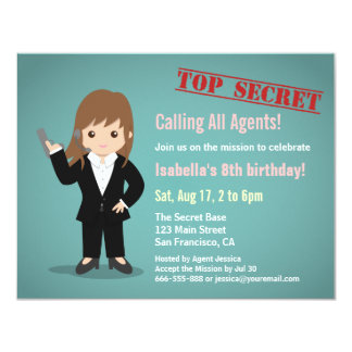 Fiesta de cumpleaños del agente secreto del chica invitación 10,8 x 13,9 cm