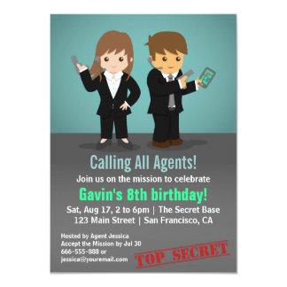 Fiesta de cumpleaños del agente secreto invitación 11,4 x 15,8 cm