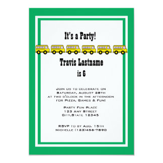 Fiesta de cumpleaños del autobús escolar invitación 12,7 x 17,8 cm