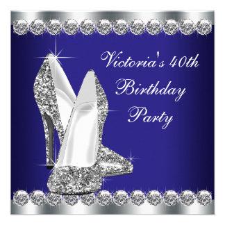 Fiesta de cumpleaños del azul real de la mujer 40 comunicado personalizado