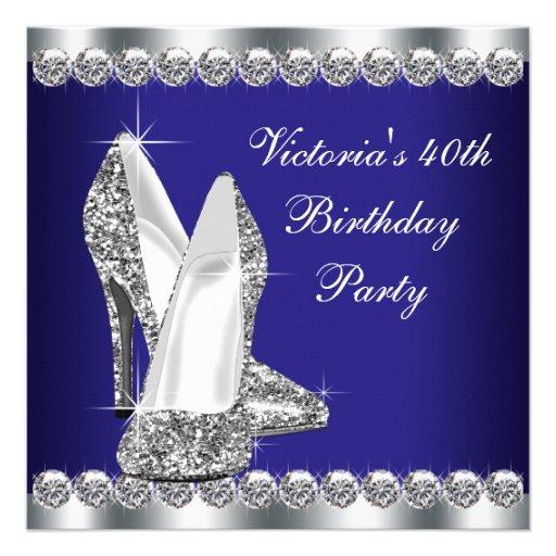 Fiesta de cumpleaños del azul real de la mujer 40. comunicado personalizado