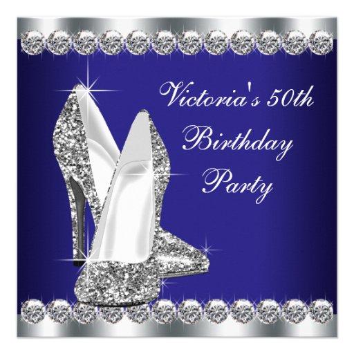 Fiesta de cumpleaños del azul real de la mujer 50. comunicados