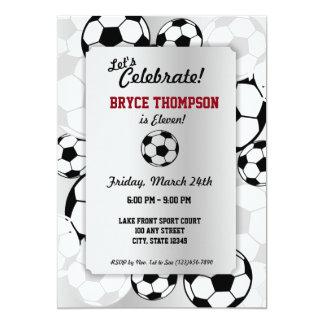 Fiesta de cumpleaños del balón de fútbol invitación 12,7 x 17,8 cm
