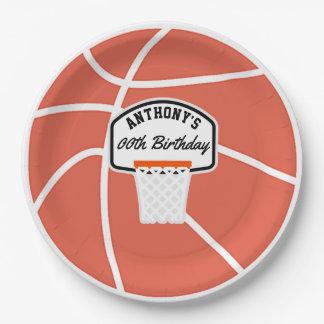Fiesta de cumpleaños del baloncesto personalizada plato de papel
