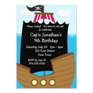 Fiesta de cumpleaños del barco pirata de los niños invitación 12,7 x 17,8 cm