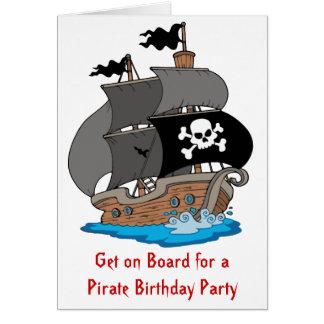 Fiesta de cumpleaños del barco pirata tarjeta de felicitación