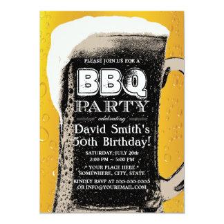 Fiesta de cumpleaños del Bbq de la cerveza del Invitación 12,7 X 17,8 Cm
