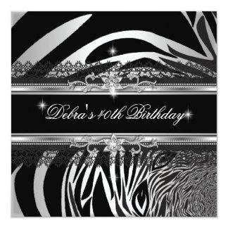 Fiesta de cumpleaños del blanco de plata negro de invitación 13,3 cm x 13,3cm