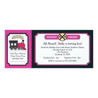 Fiesta de cumpleaños del boleto de tren - rosa y invitación 10,1 x 23,5 cm