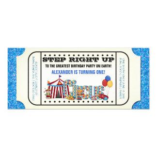 Fiesta de cumpleaños del boleto del circo de los invitación 10,1 x 23,5 cm