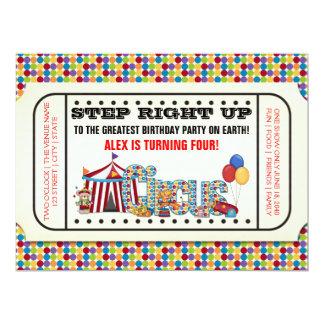 Fiesta de cumpleaños del boleto del circo del invitación 16,5 x 22,2 cm
