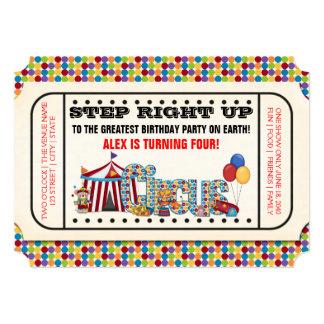 Fiesta de cumpleaños del boleto del circo del invitación 12,7 x 17,8 cm