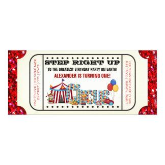 Fiesta de cumpleaños del boleto del circo invitación 10,1 x 23,5 cm