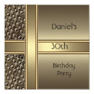 Fiesta de cumpleaños del bronce del metal invitación 13,3 cm x 13,3cm