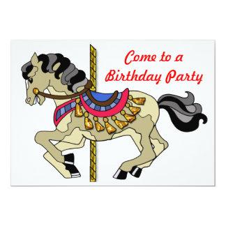 Fiesta de cumpleaños del caballo del carrusel del invitación 12,7 x 17,8 cm