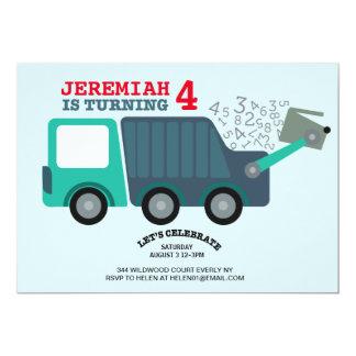 Fiesta de cumpleaños del camión de basura invitación 12,7 x 17,8 cm
