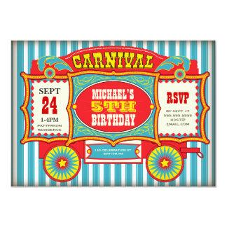 Fiesta de cumpleaños del carro del carnaval del invitación 12,7 x 17,8 cm