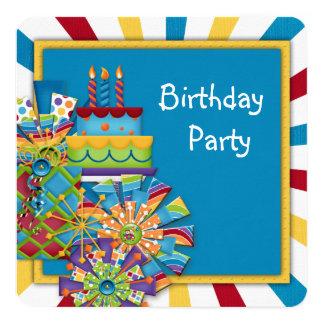 Fiesta de cumpleaños del circo de los niños invitación 13,3 cm x 13,3cm