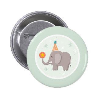 Fiesta de cumpleaños del circo del elefante chapa redonda de 5 cm