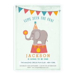 Fiesta de cumpleaños del circo del elefante invitación 12,7 x 17,8 cm