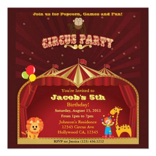 Fiesta de cumpleaños del circo del niño invitación