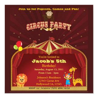 Fiesta de cumpleaños del circo del niño invitación 13,3 cm x 13,3cm