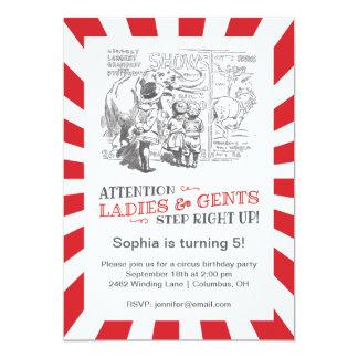 Fiesta de cumpleaños del circo del vintage invitación 12,7 x 17,8 cm
