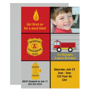 Fiesta de cumpleaños del coche de bomberos invitación 12,7 x 17,8 cm