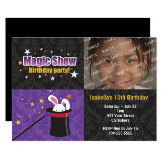 Fiesta de cumpleaños del conejo del mago invitación 12,7 x 17,8 cm