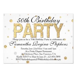 Fiesta de cumpleaños del confeti de la chispa del invitación 12,7 x 17,8 cm